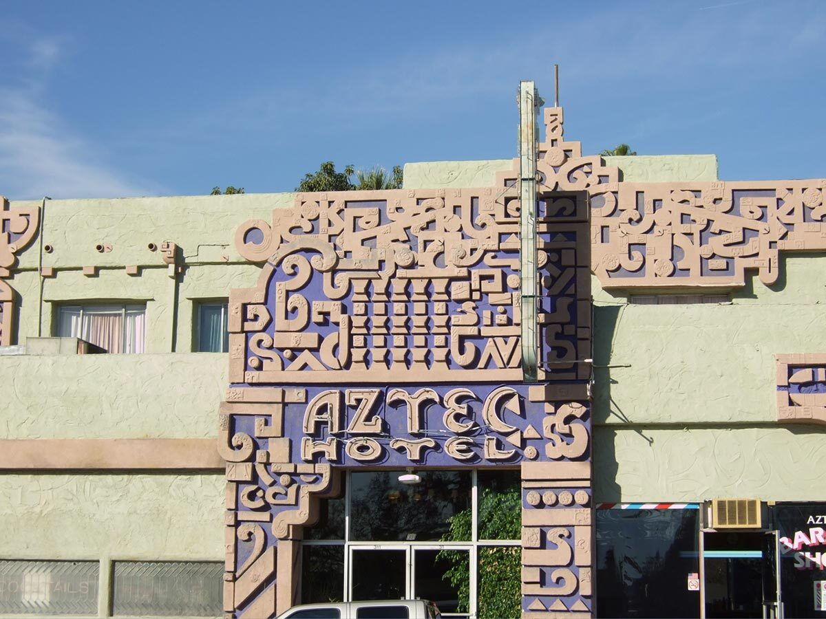 A part of the facade in front of the Aztec Hotel in Monrovia, California by Robert Stacy-Judd | Amanda Wray/Flickr FLW AB s9