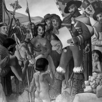 1937 mural by Buckley Mac-Gurrin depicting the founding of Los Angeles. Photo courtesy of the Los Angeles Public Library