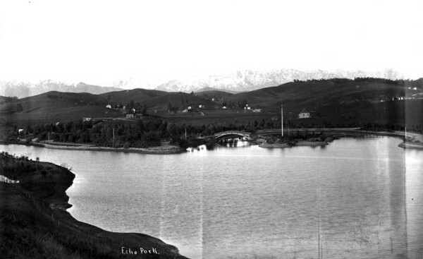 Echo Park, circa 1895. Photo by W. H. Fletcher, courtesy of the W.H. Fletcher Collection, California State Library.