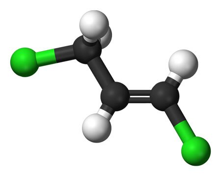 A molecular model of 1,3-dichloropropene | Image: Jynto and Ben Mills, some rights reserved
