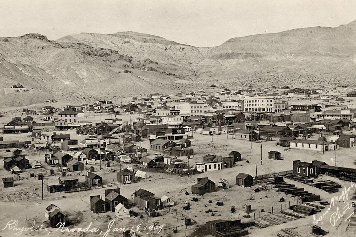 A view of Rhyolite, NV, January 18, 1909. Photographed by E. Moffat. | Courtesy of University of Nevada, Reno, Special Collections.