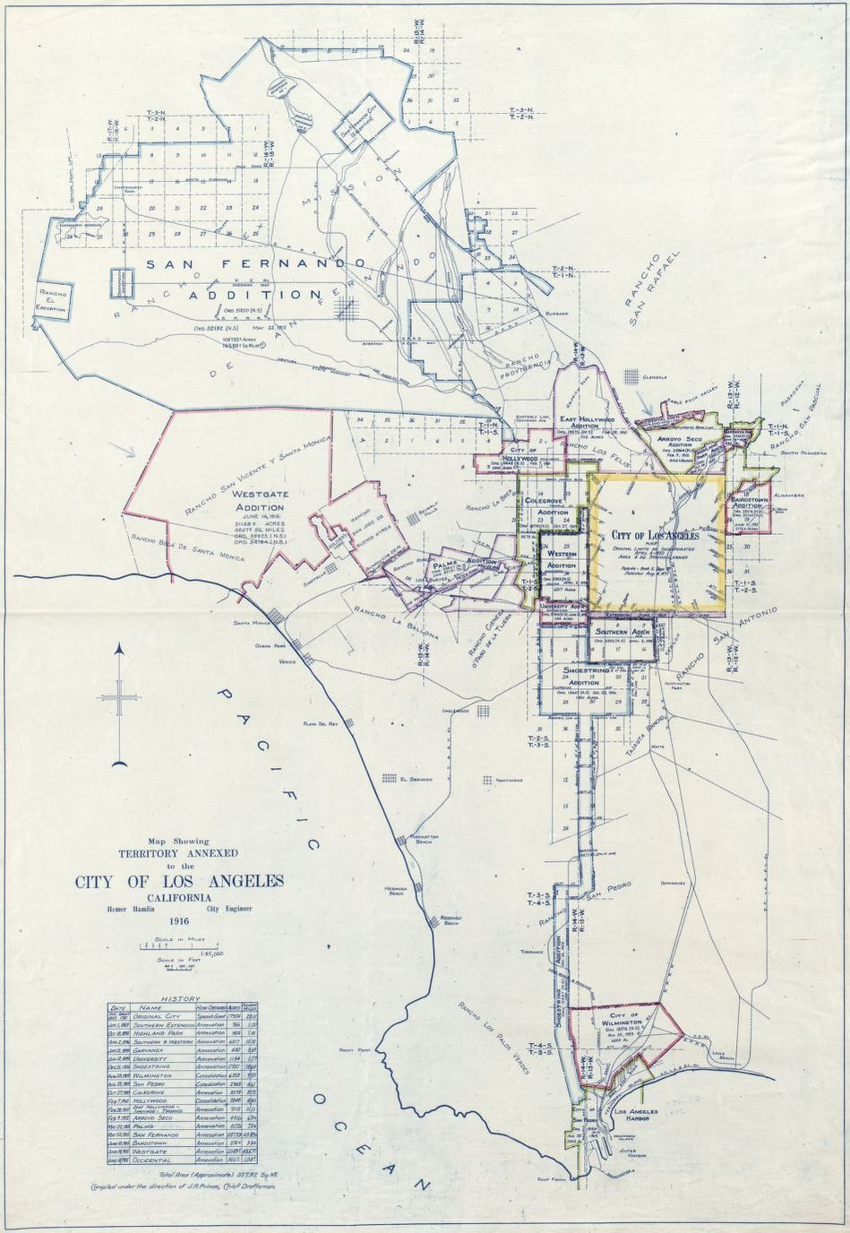 Close up of map showing territory annexed to the City of Los Angeles, California