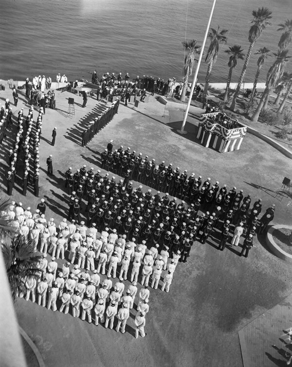 U.S. Maritime Service personnel on Casino Point. Courtesy of the Catalina Island Museum.