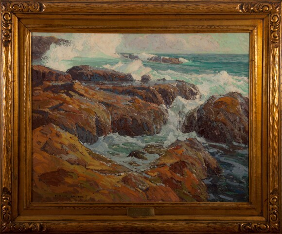"Edgar Payne, ""Rockbound,"" c. 1918, oil on canvas (Gardena High School Class of 1921)."