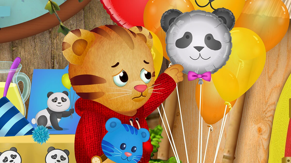 Cartoon of a small tiger frowning next to a bunch of balloons