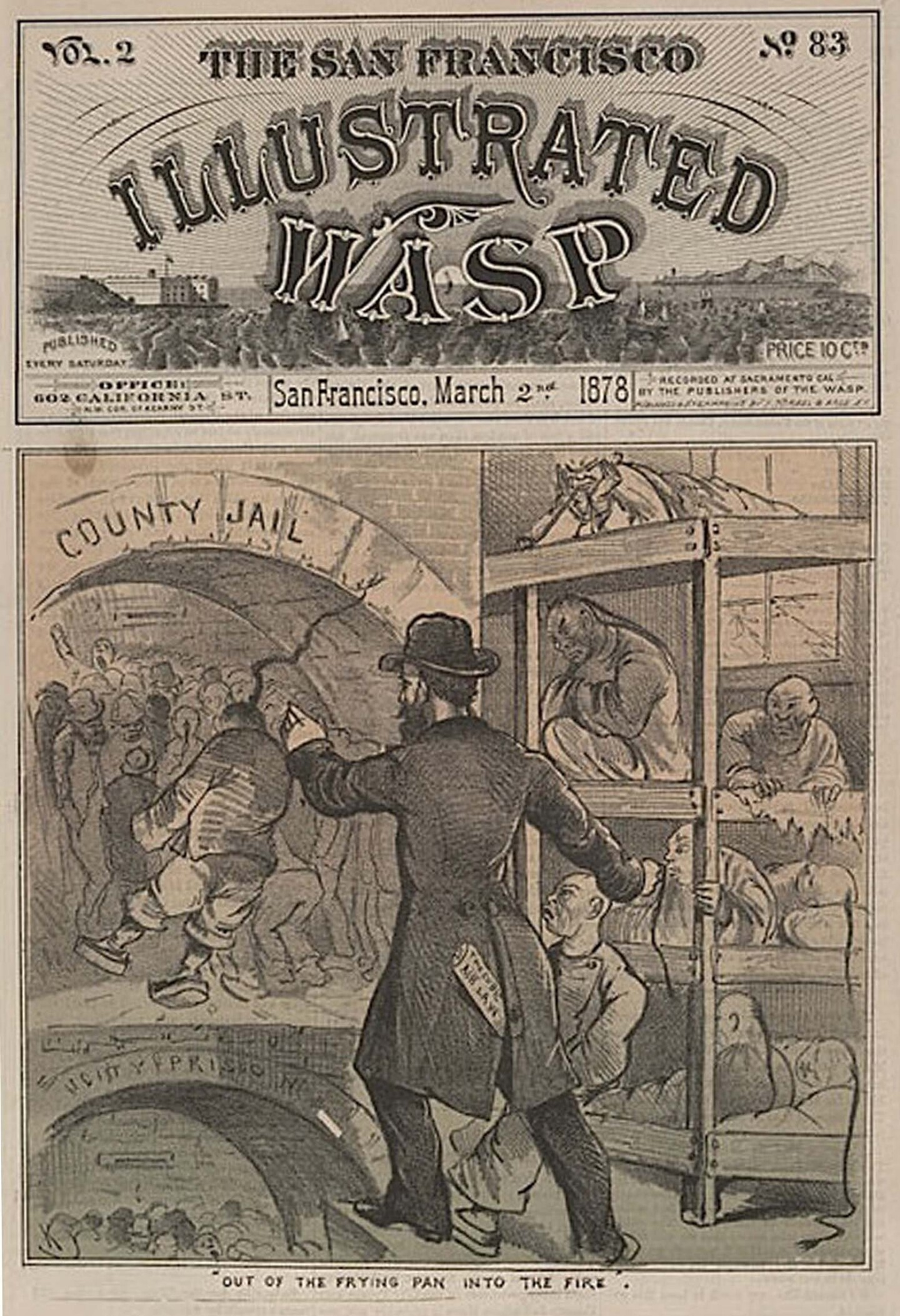 Front cover of The San Francisco Illustrated Wasp from March 2, 1878 illustrating the Cubic Air Law arrests