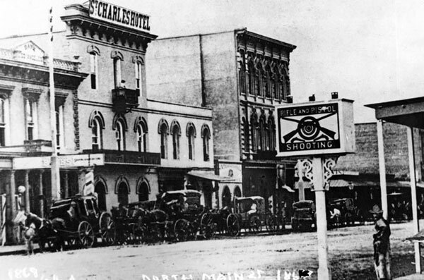The Bella Union circa 1880s, by then renamed the St. Charles Hotel. Courtesy of the Photo Collection, Los Angeles Public Library.