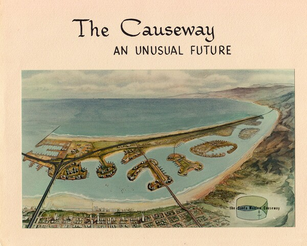 The seven-mile-long Santa Monica Causeway would have created an artificial harbor where surfers and sunbathers play today. Courtesy of the City of Santa Monica.