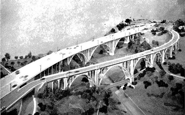 A 1951 artist's rendering of a new freeway span next to the original Colorado Street Bridge. Courtesy of the Metro Transportation Library and Archive.