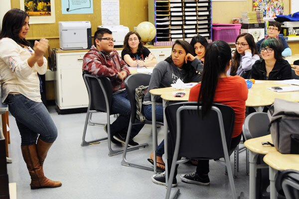 Jasmine Ceja, National Youth Organizing Manager for Break the Cycle during training at Arroyo HS