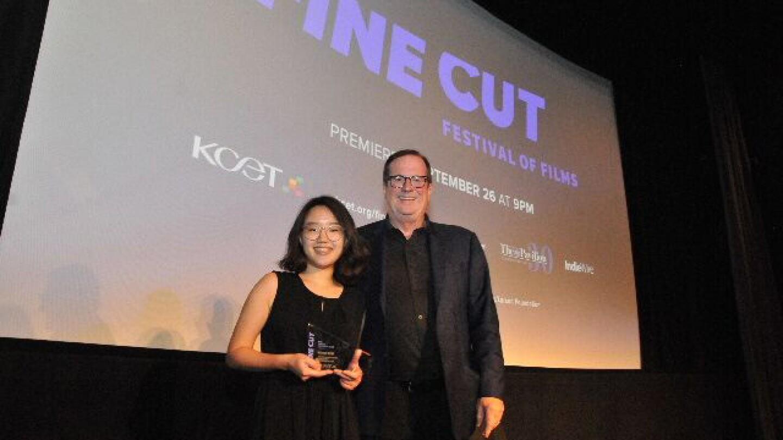 Jack Larson Southern California Filmmaker Award recipient Hanna Kim with Deadline.com Chief Film Critic Pete Hammond