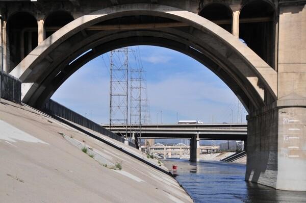 The L.A. River at the Spring Street Bridge | Photo via KCET Departures