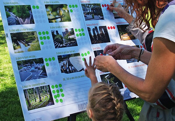 Participants at the Living Museum event identify their vision for the North Branch. Photo by Jane Tsong. Original posters for event created by Joshua Link.