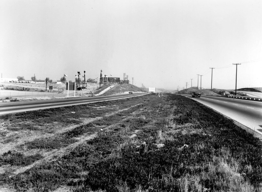 A view of the same freeway further south at El Toro in 1964, also courtesy of the Orange County Archives. That commodious median has since been converted into several additional traffic lanes.
