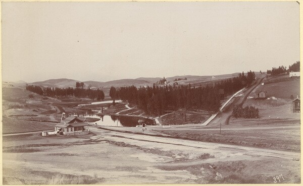 Circa 1890 view of Second Street Park by William Fletcher. Courtesy of the W. H. Fletcher Collection, California State Library.