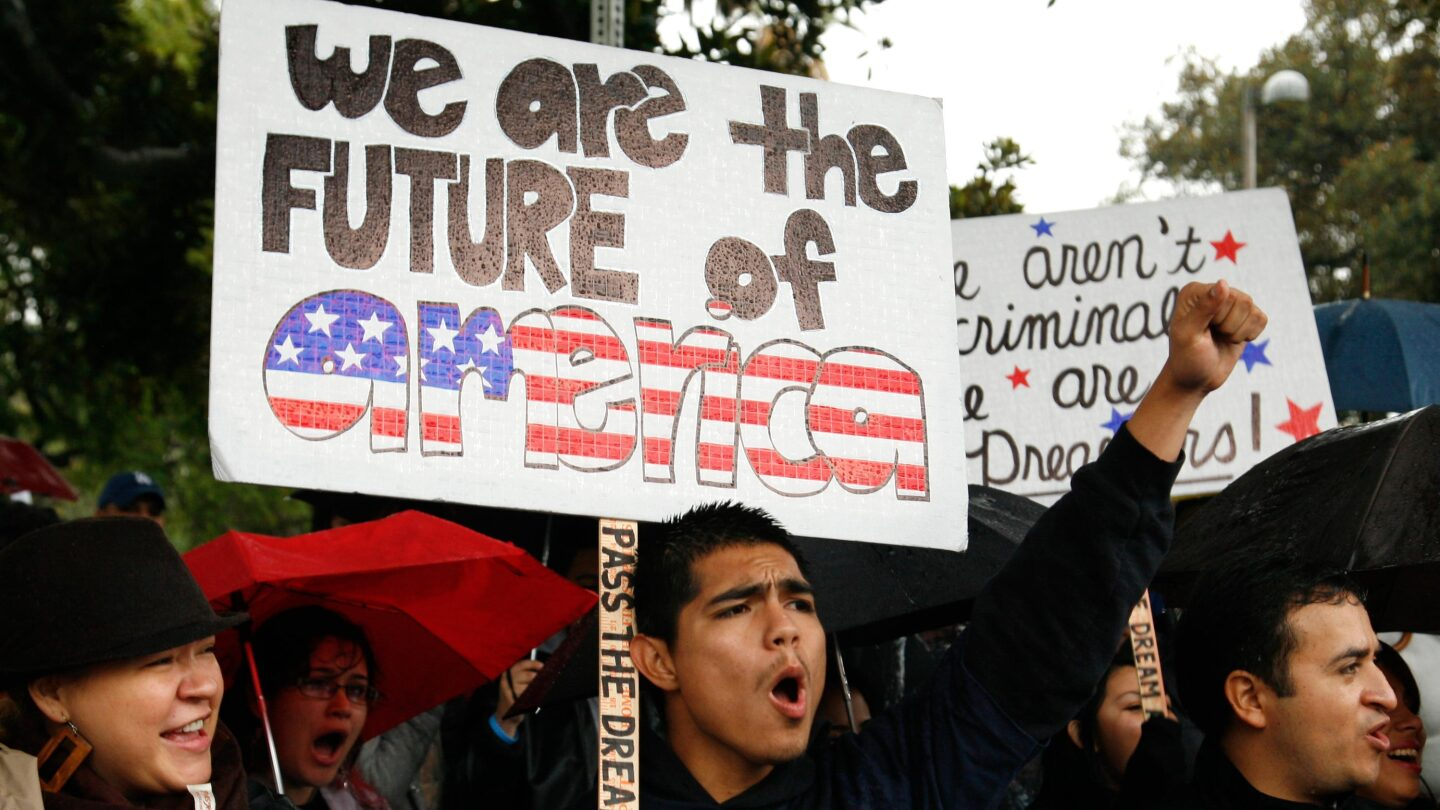 Undocumented student Jorge Herrera at 2010 Los Angeles rally for the DREAM Act. | Photo by Jason Redmond, AP