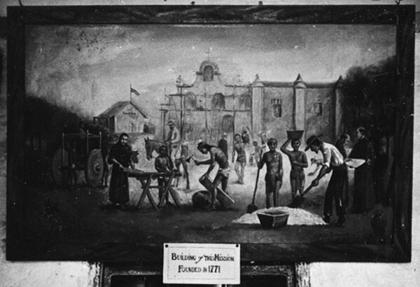 Photo: A painting inside the Mission San Gabriel, depicting its founding in 1771. | Courtesy of the Los Angeles Public Library