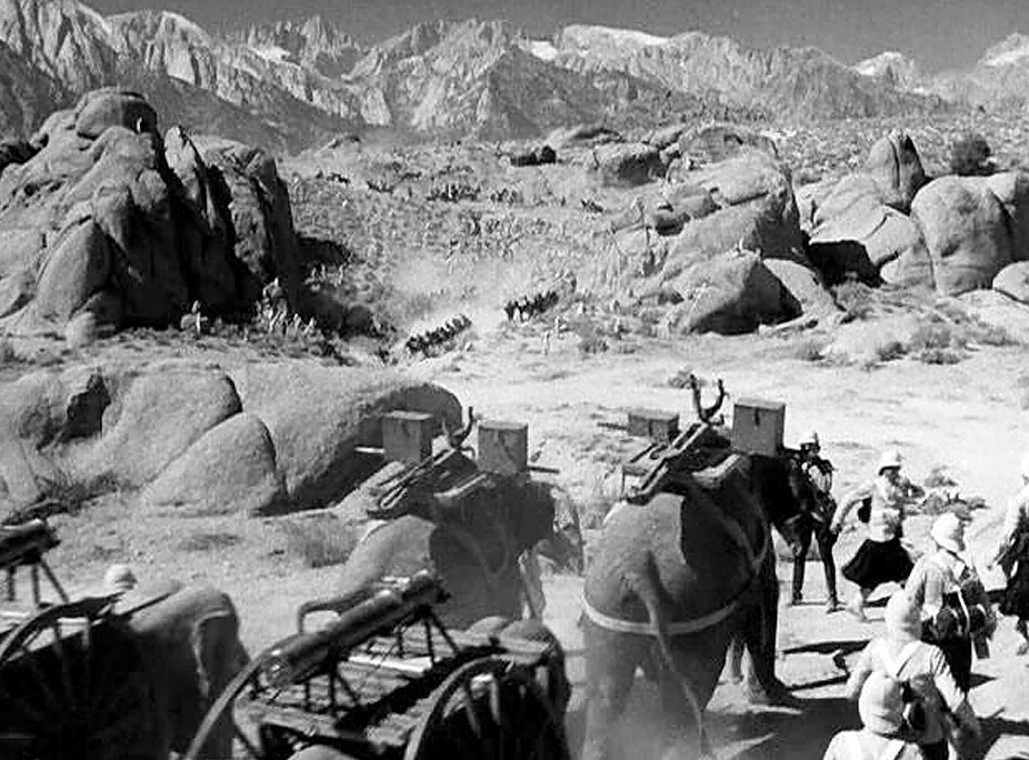"""The exotic temple scene in """"Gunga Din"""" (1939) starring Cary Grant and Douglas Fairbanks, Jr., was constructed in the heart of the Alabama Hills outside of Lone Pine, California — a favorite location for classic Western films. RKO Radio Pictures."""