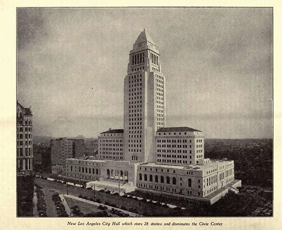 Illustration from Overland magazine, 1931, the new LA City Hall by Mike CLine