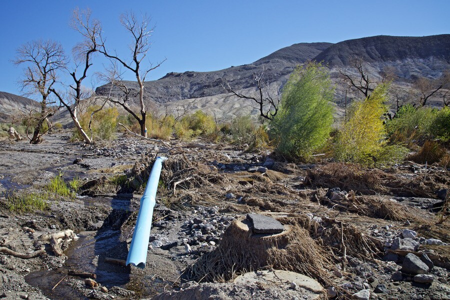 Blue Pipe Unearthed by Flood at Grapevine Canyon - Death Valley, CA - 2015