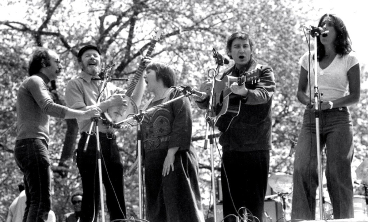 Barbara Dane singing at a rally with Pete Seeger and Joan Baez | Courtesy of the Barbara Dane Legacy Project