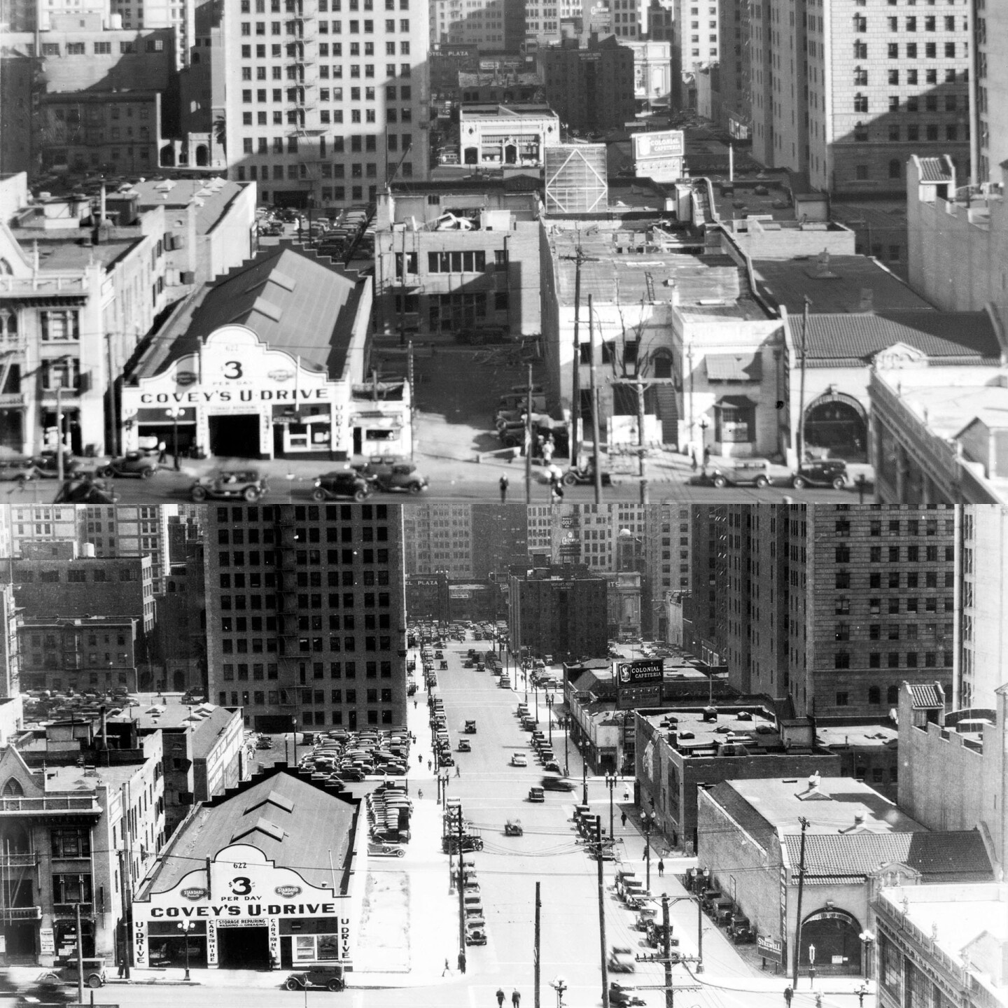 Between 1930 and 1931, the city extended Wilshire Boulevard three blocks into downtown Los Angeles, from Figueroa to Grand. 1930 and 1934 photographs courtesy of the USC Libraries - California Historical Society Collection.