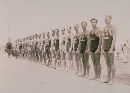 Santa Monica lifeguards in 1935. Courtesy of the Santa Monica Public Library