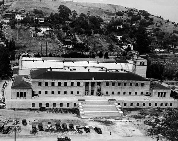 The Chavez Ravine Naval Reserve Armory under construction in 1940. Courtesy of the Los Angeles Examiner Collection, USC Libraries.