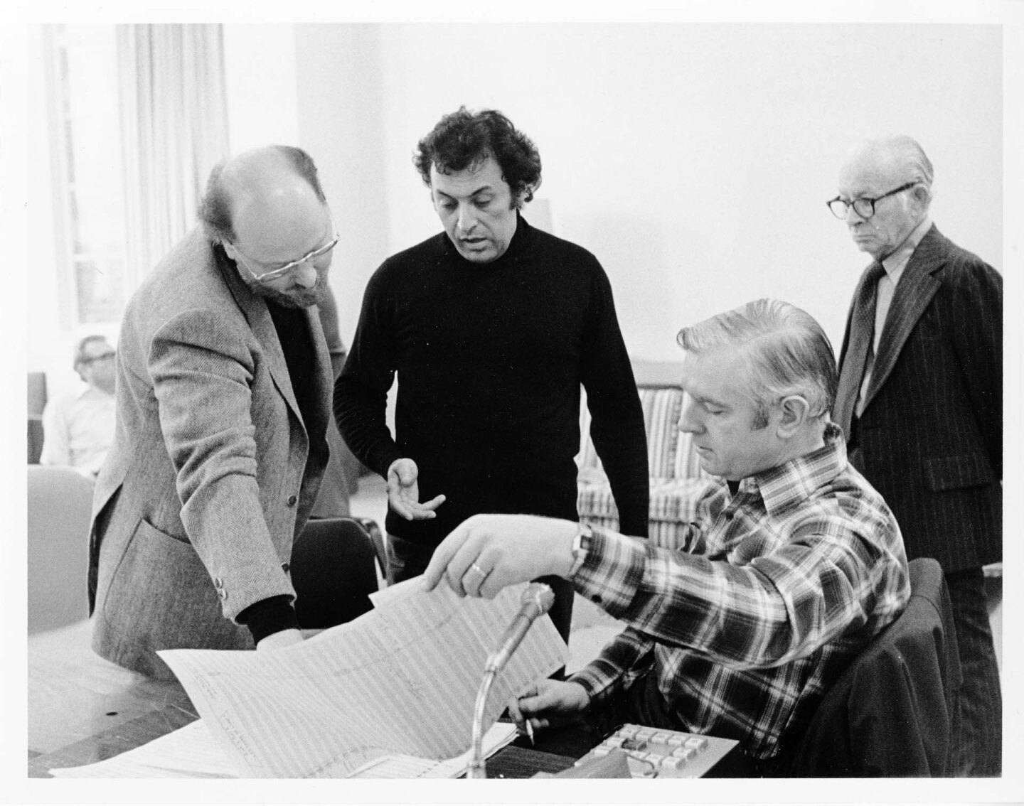 Star Wars recording session at UCLA Royce Hall, in the studio with John Williams and Zubin Mehta, in December 1977.   Courtesy of the Los Angeles Philharmonic Archives