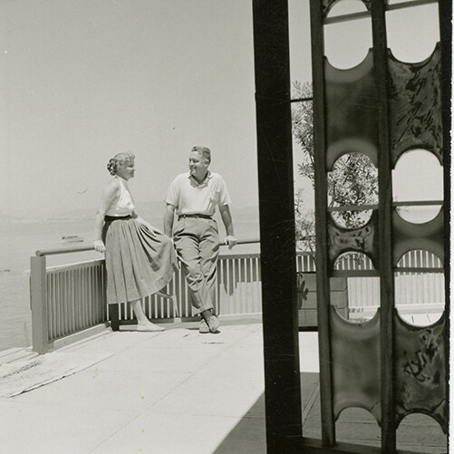 Brian and Edith Heath out in the patio of their home | Courtesy of the Environmental Design Archives at UC Berkeley