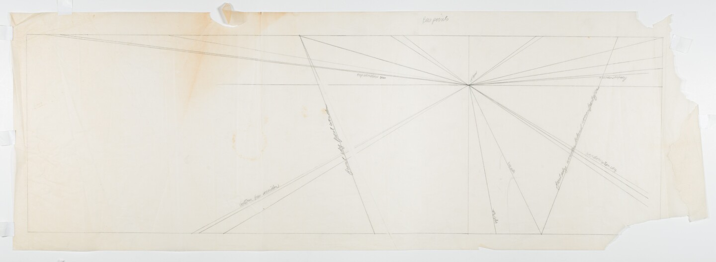"Diagonal lines on paper set the perspective for ""The Great Wall of Los Angeles 1950: Forebearers of Civil Rights."" The lines meet at a single point."