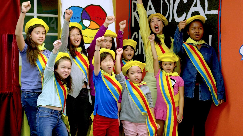 Kristina Wong and children of Radical Cram School