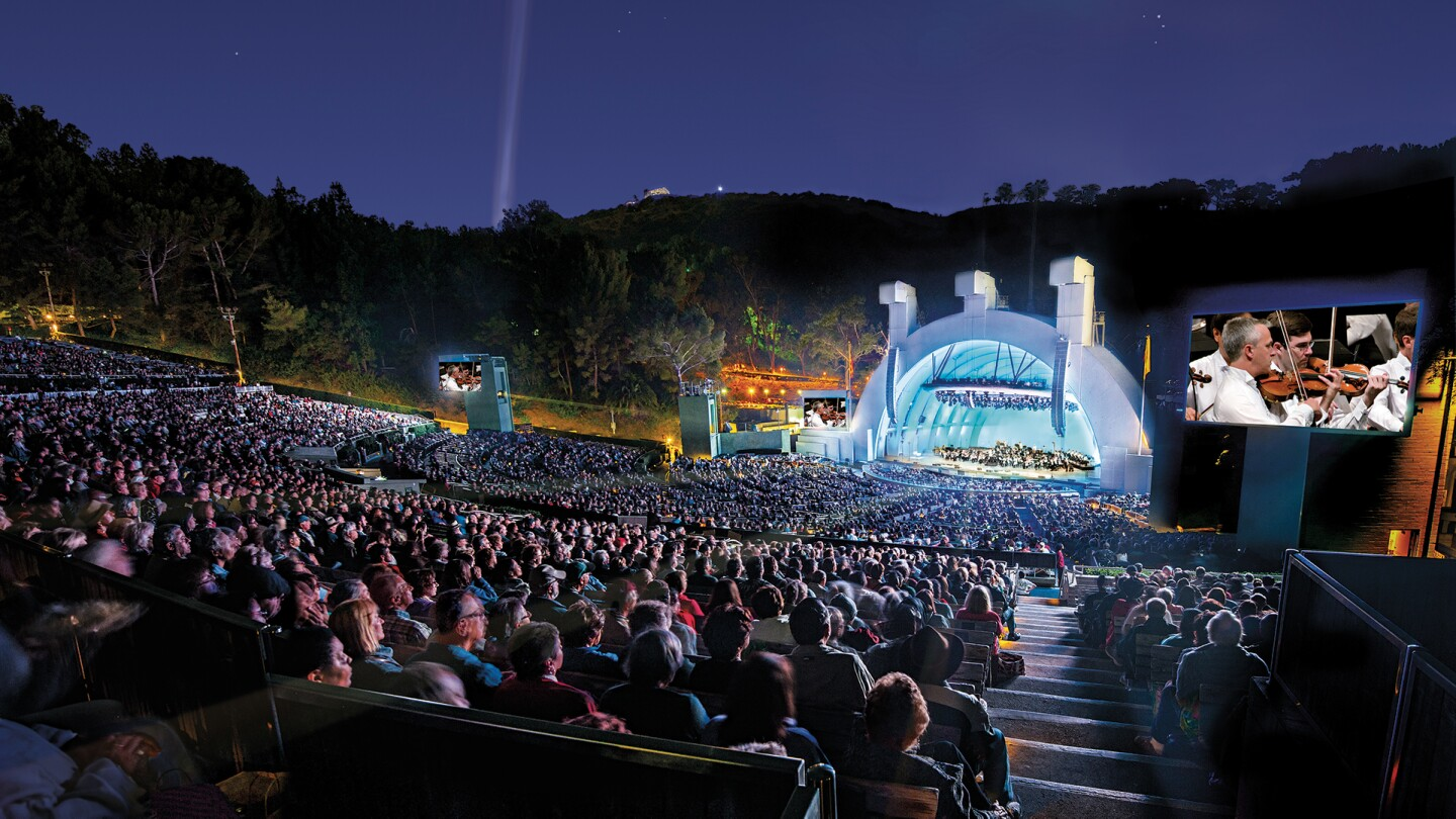 Hollywood Bowl shell with orchestra on stage | Adam Latham