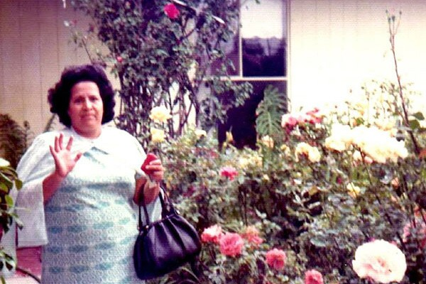 Benita's mom, Josefina Gonzales-Morgan, in her El Monte rose garden | Photo courtesy of Benita Morgan Bishop