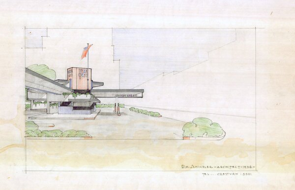 A 1934 architectural rendering by Rudolph Schindler for a Union Oil gas station. Courtesy of the UCSB Art, Design & Architecture Library.