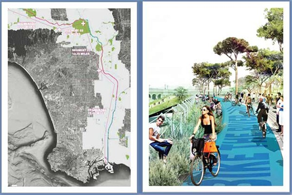 A continuous greenway along the LA River would make for an unbroken bike path.