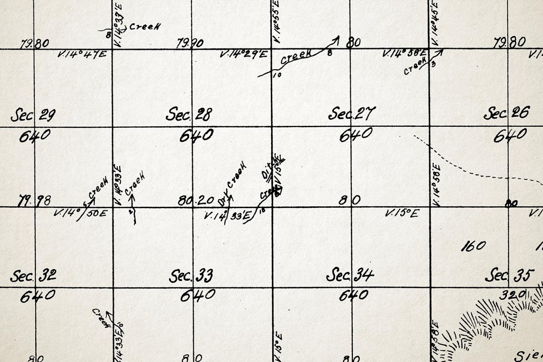 "Detail of land survey map depicting ""Indian ditches,"" W. Von Schmidt (1855)"