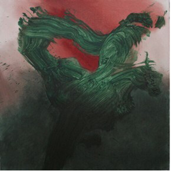 Red Green Study 2 (2011) by Seyburn Zorthian, acrylic and oil on canvas, 36'' x 36''