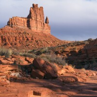 Hiker in Valley of The Gods, Bears Ears N.M.   Photo: Mason Cummings, The Wilderness Society