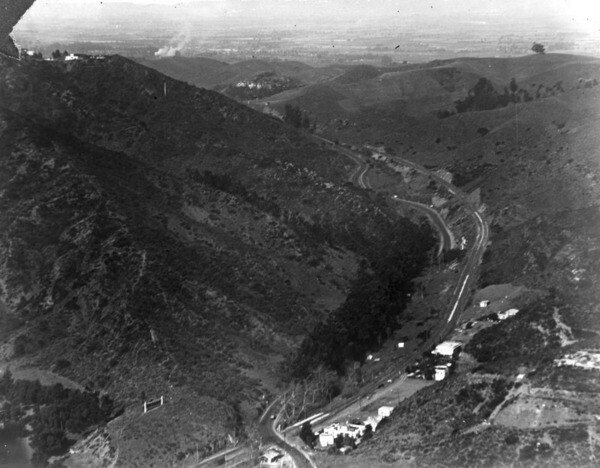 1922 aerial view of the Cahuenga Pass, looking north toward the San Fernando Valley. Courtesy of the Security Pacific National Bank Collection - Los Angeles Public Library.