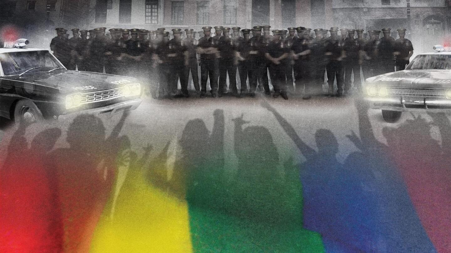 "Silhouettes of protesters overlayed with rainbow colors are pitted against a line of police officers standing side by side. | From ""Stonewall Uprising: American Experience"""