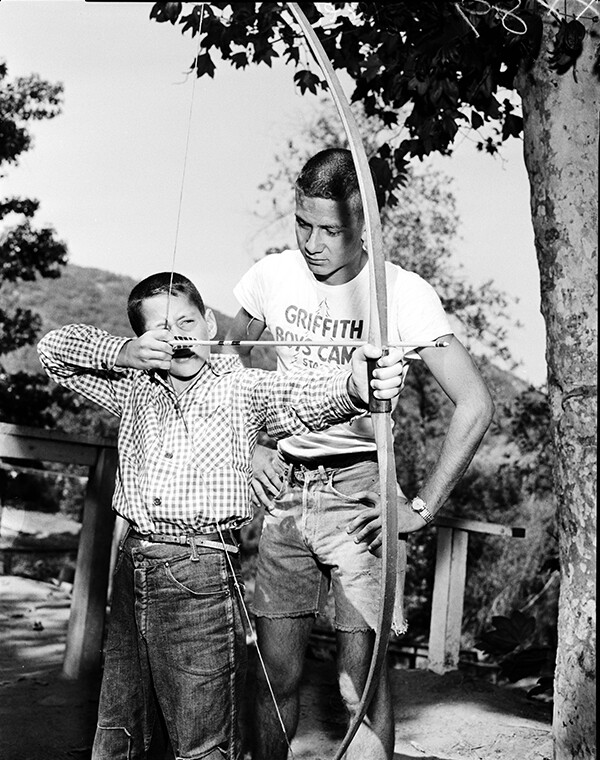 Archery class at Griffith Park's Boys Camp | Los Angeles Examiner Photographs Collection,University of Southern California Libraries