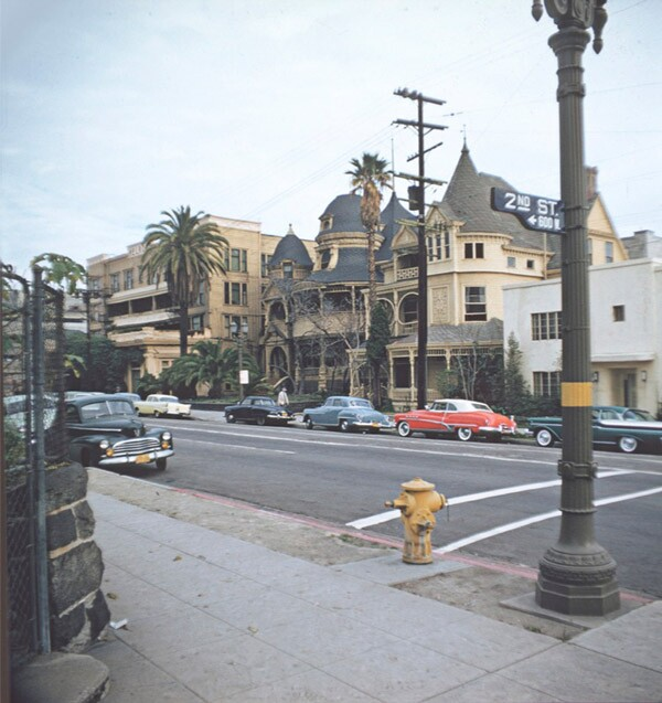 The Melrose Hotel and Hotel Richelieu at Grand Avenue and Second Street in the late 1950s. Photo by George Mann, courtesy of Dianne Woods and the George Mann Archives.