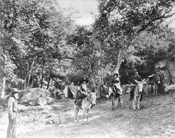 Commodore Perry Switzer (left) with his guests on the Arroyo Seco trail, circa 1885. Courtesy of the USC Libraries Special Collections, California Historical Society Collection.
