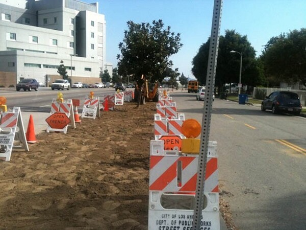 Woodman Avenue Green Infrastructure Project under construction