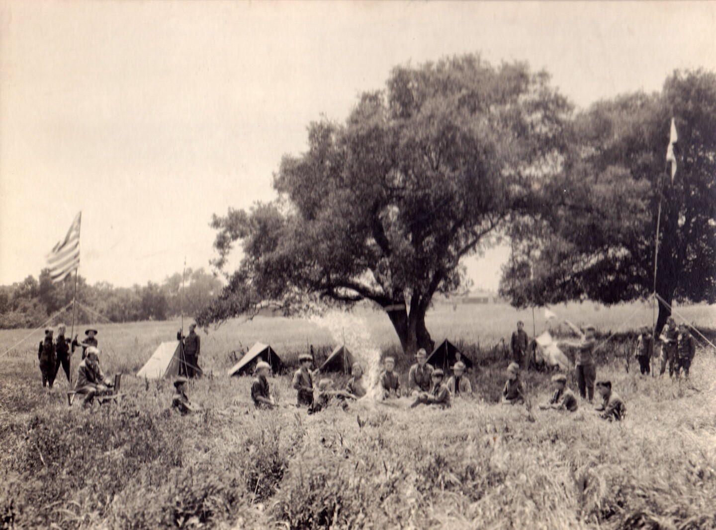 A troop of Boy Scouts demonstrate their skills in the open fields across from Caltech in Pasadena, at the southwest corner of East California Blvd. and South Wilson Ave. Property of Polytechnic School, Pasadena, CA.