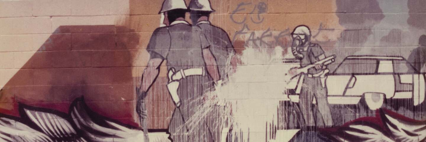 Sergio O'Cadiz, Mural detail, Fountain Valley Mural c. 1976 | Private collection of the O'Cadiz Family Murales Rebeldes