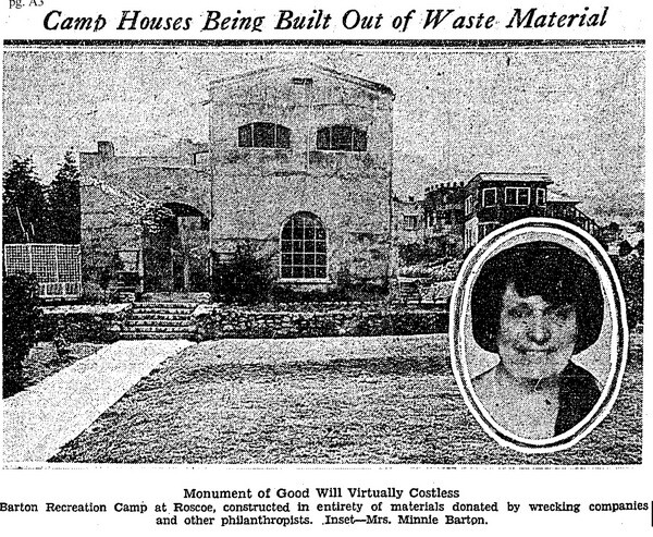 The camp was built entirely out of donated waste materials by volunteers and displaced men and women | L.A. Times, August 29, 1932