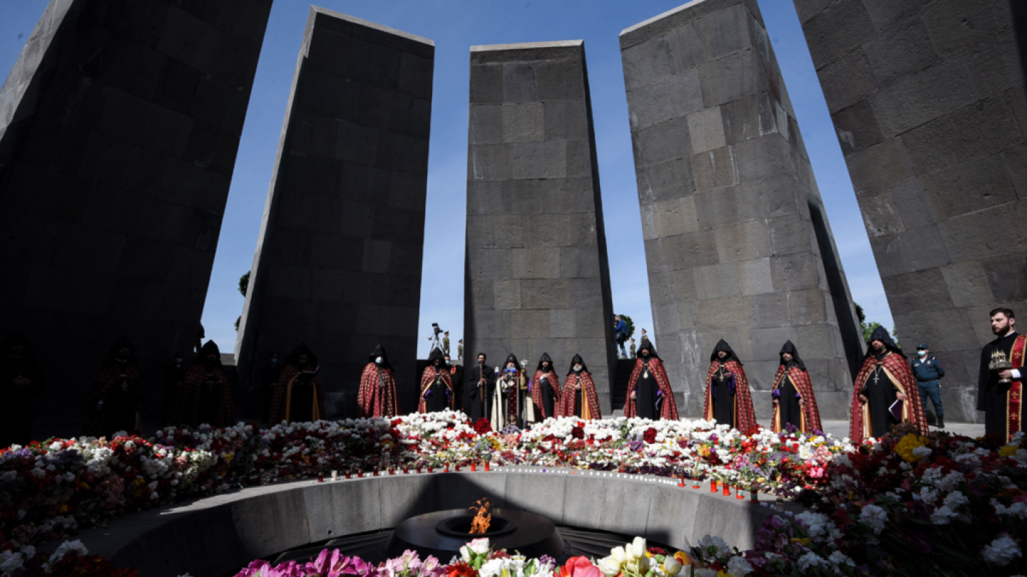 Members of the Armenian community gather to memorialize the victims of the genocide.