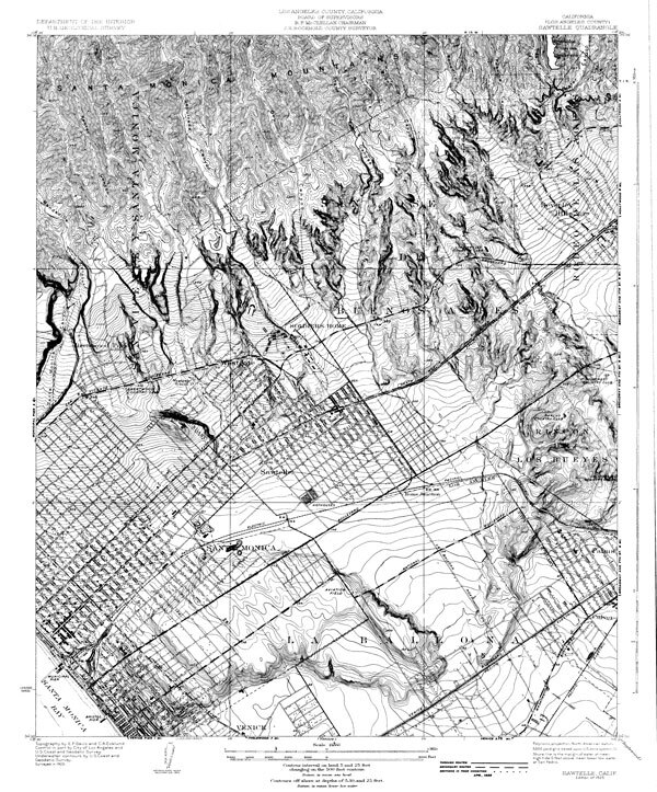 1925 topographic map of Sawtelle and neighboring areas. Courtesy of the California Geographical Survey, CSUN.